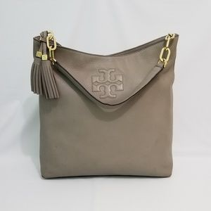 Tory Burch Soft Pebbled Leather Tassel Tote